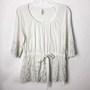 Anthropologie Floreat Nana's Doily Cut Out Top